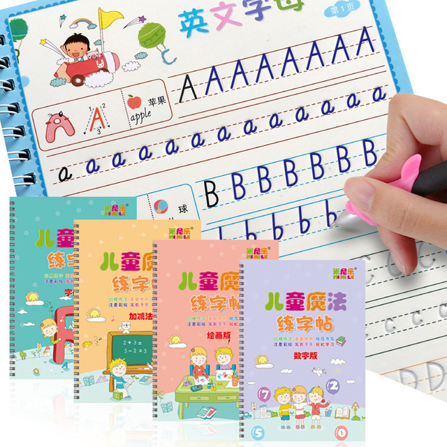 4 Books Reusable Copybook For Calligraphy Learn Alphabet Painting Arithmetic Math Children Handwriting Practice Books Baby Toys 1