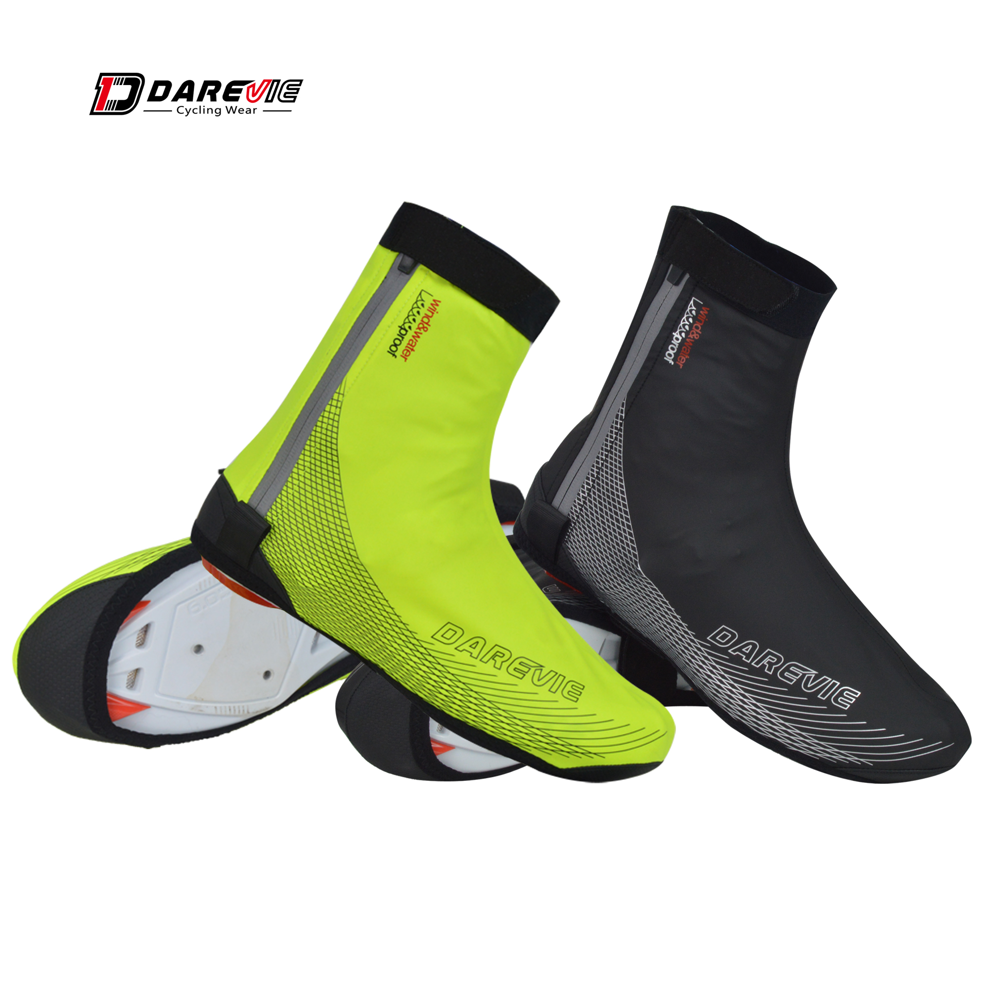 Darevie Cycling Shoe Covers Windproof Winter Cycling Shoes Covers Warm Waterproof Cycling Lock Shoes Cover Reflective Zipper