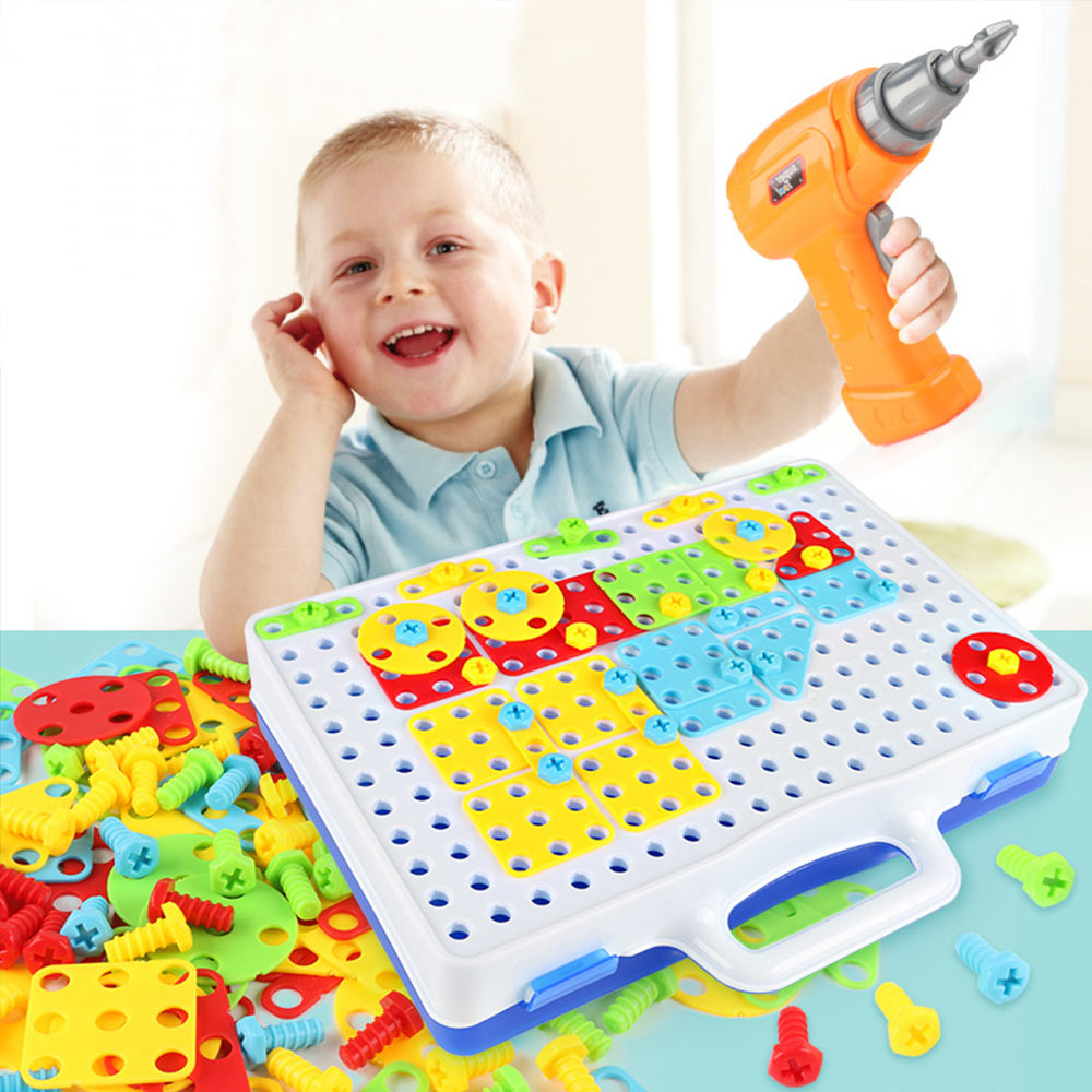 Toys For Boys Drill Puzzle Educational Toys DIY Screw Group Toy Kids Tool Kit Plastic Boy Jigsaw Mosaic Building Toy Baby Tools