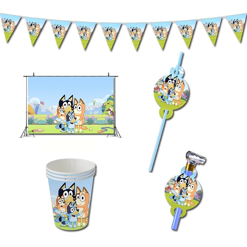 Bluey День Рождения украшения игра Собака Щенок тема поставки баннер чашки для детей