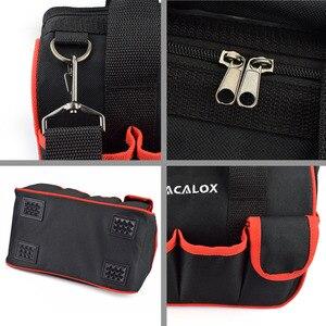 """Image 4 - NEWACALOX 12 """"حقيبة أدوات صغيرة رشاقته الأجهزة المهنية كهربائي إصلاح تخزين العمل حقيبة حامل 600D إغلاق أعلى واسعة الفم"""