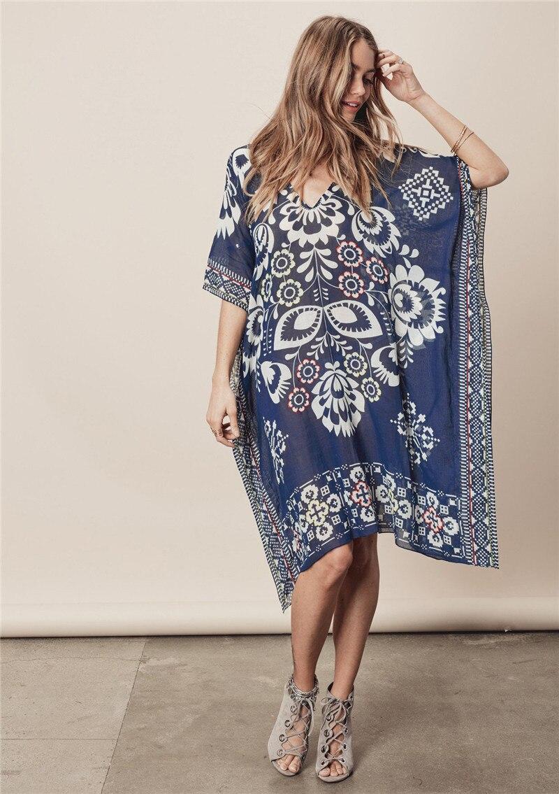 Hot Selling Europe And America Dark Blue Positioning Printed Beach Skirt Chiffon V-neck Bikini Outer Blouse Loose-Fit Sun Shirt