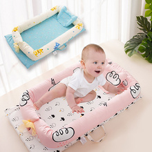 Baby Nest Bed Crib Portable Baby Crib Travel Bed For Children Soft Cotton Infant Cradle Kids Cartoon Babynest Newborn Bumper Cot natural straw hand knitting baby portable bed crib breathable outdoor travel cars baby cradle bed protector for kids
