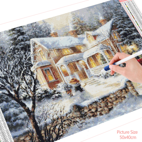 HUACAN DIY Diamond Painting Scenery Christmas Cross Stitch Kit Snow Full Square Winter Embroidery Beaded Mosaic Landscape Lahore