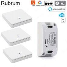 Rubrum RF Wifi kablosuz 433MHz röle 1 CH 220V alıcı akıllı ev anahtar modülü 86 duvar paneli uzaktan kumanda anahtarı 10A 2200W