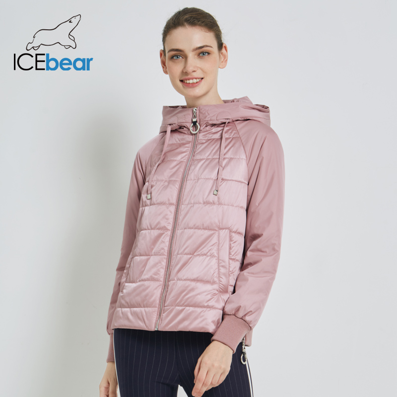 ICEbear 2020 New Women's Spring Coat Brand Clothing Short Coat With Hat Fashion Woman Clothing GWC20070D