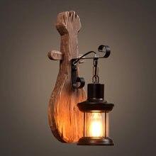 Креативный ретродеревянный светильник для ресторана кафе настенный
