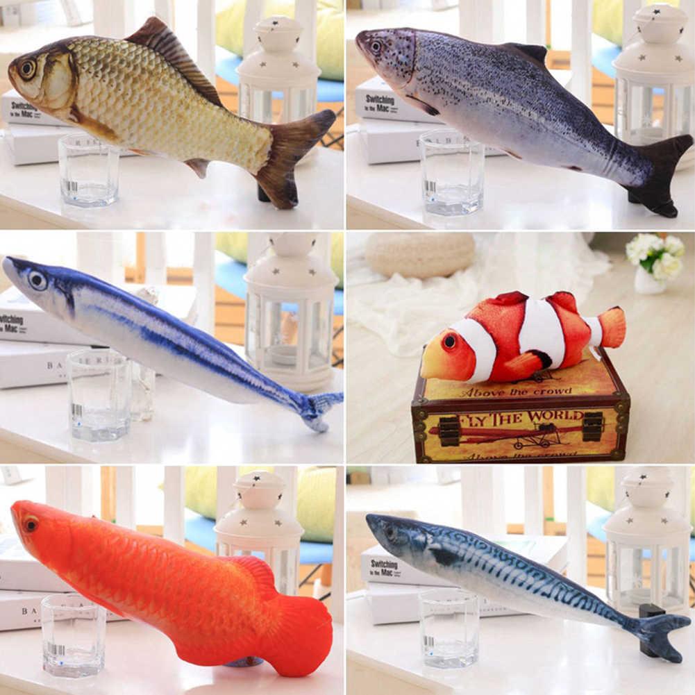 1Pc Pet miękki pluszowy 3D w kształcie ryby zabawka dla kota interaktywne prezenty ryba zabawka z kocimiętką rzeczy poduszka lalka sztuczna ryba zabawka dla zwierzaka