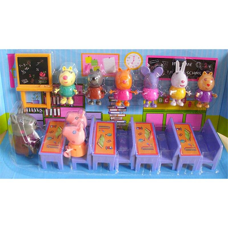 Peppa Pig Genuine Classroom Desk Toy Set Piggy Teacher Action Anime Figure Role Model Toy Child Birthday Present
