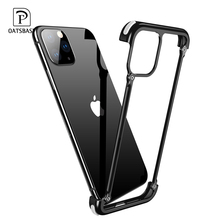Metal Frame Shape With Airbag Shockproof Phone Case For Iphone 11 11pro max Bumper Back Bover Gift Glass Film