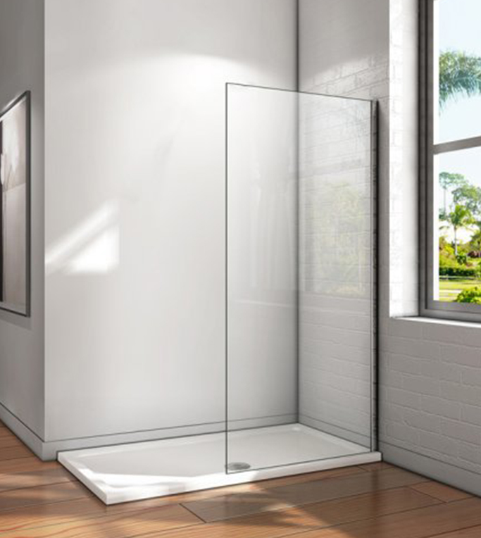 Screen Walk-in, Shower Screen Fixed, 8mm Tempered Glass Treatment Anti-calc/Easyclean