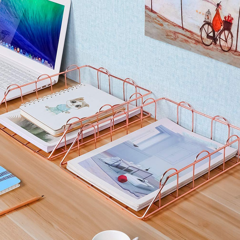 1 Set Of 2 Office Supplies Metal Stackable File Document Letter Tray Organizer, Rose Gold