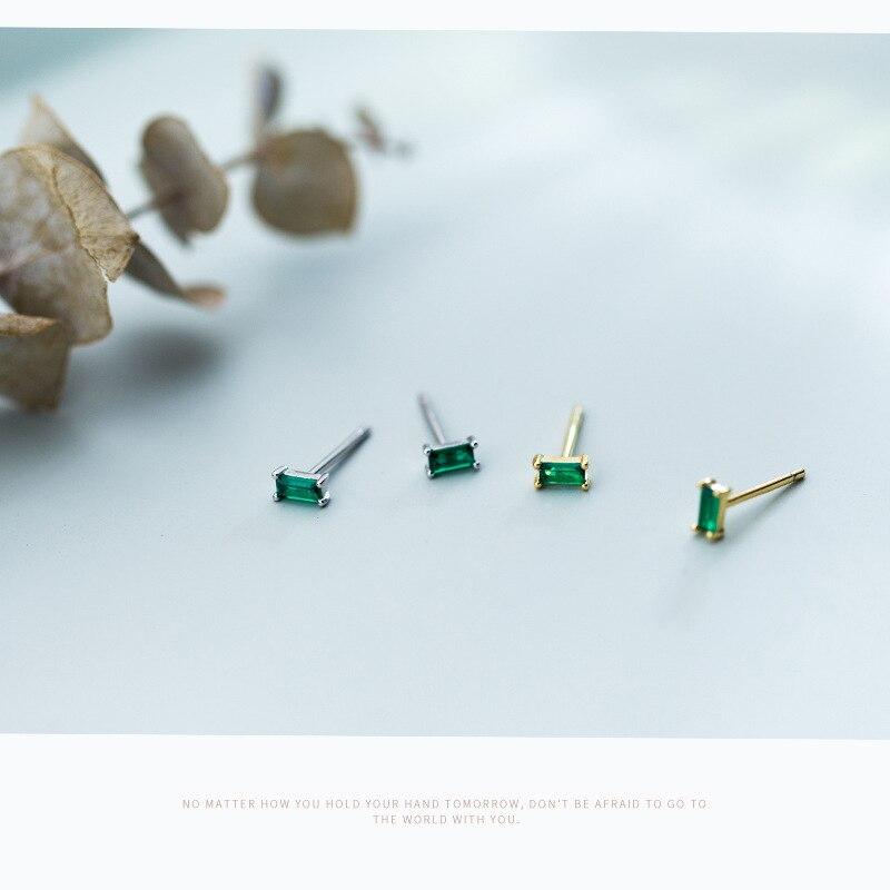 Trustdavis Minimalist Stud Earrings For Women Party Geometric Square Green Zircon 925 Sterling Silver Fashion Jewelry Gift DA648
