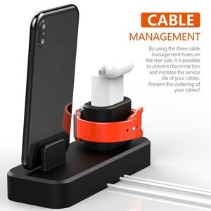 Image 4 - 3 trong 1 Đế Sạc Cho iPhone AirPods Sạc Giá Đỡ Dành Cho Đồng Hồ Apple 2 3 4 Silicone Dock Sạc ga Đế Đứng