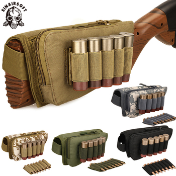 tactical buttstock shotgun rifle stock ammo portable pouch shell cartridge holder pouch holder cheek leather pad Tactical Muti-functional Rifle Shotgun Buttstock Cheek Rest Rifle Stock Ammo Shell Nylon Magazine Molle Pouch Holder Bandolier