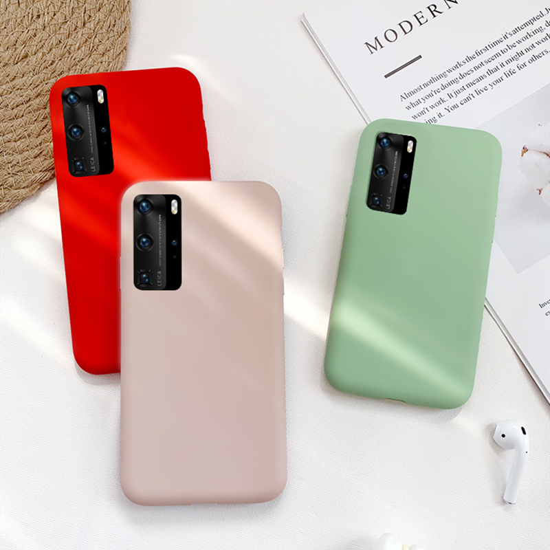 For Huawei P40 Pro Case For Huawei P40 Pro Cover Liquid Silicone Soft Rubber Back Protector Fundas Phone Case For Huawei P40 Pro