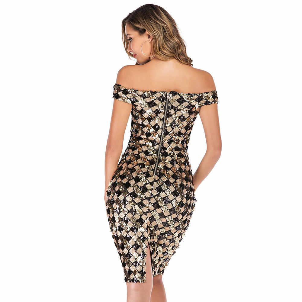 С блестками летнее платье Для женщин 2019 элегантное сексуальное платье с открытыми плечами, Длинные вечерние платья узкого кроя в клетку черного и золотого цвета вечерние Clud Bodycon платья