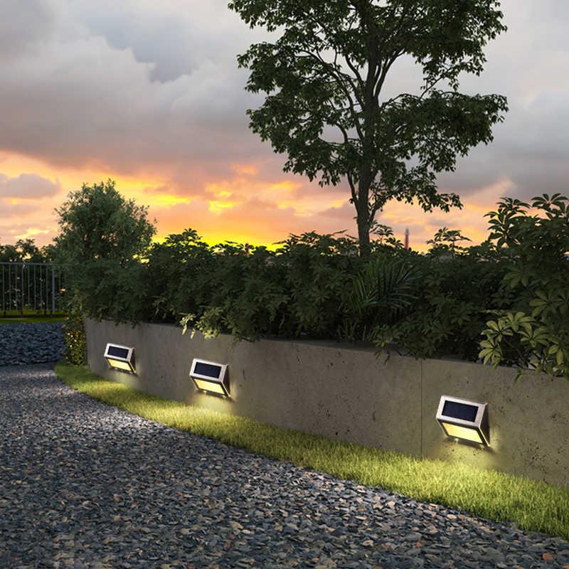 2 قطعة الفولاذ المقاوم للصدأ مقاوم للماء حديقة درج مصباح ممر led الشمسية خطوة أضواء ليلة الإضاءة بالطاقة الشمسية الجدار مصباح footlight