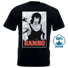 Official T Shirt Mens John Rambo First Blood 100% Black Cotton In Sizes Sm 4Xl