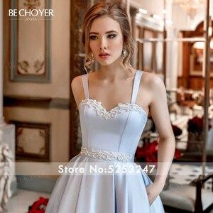 Image 3 - BECHOYER מתוקה חרוזים סאטן חתונת שמלת כחול ללא שרוולים אונליין כיסים משפט רכבת המפלגה הכלה שמלת Vestido דה Noiva AC01