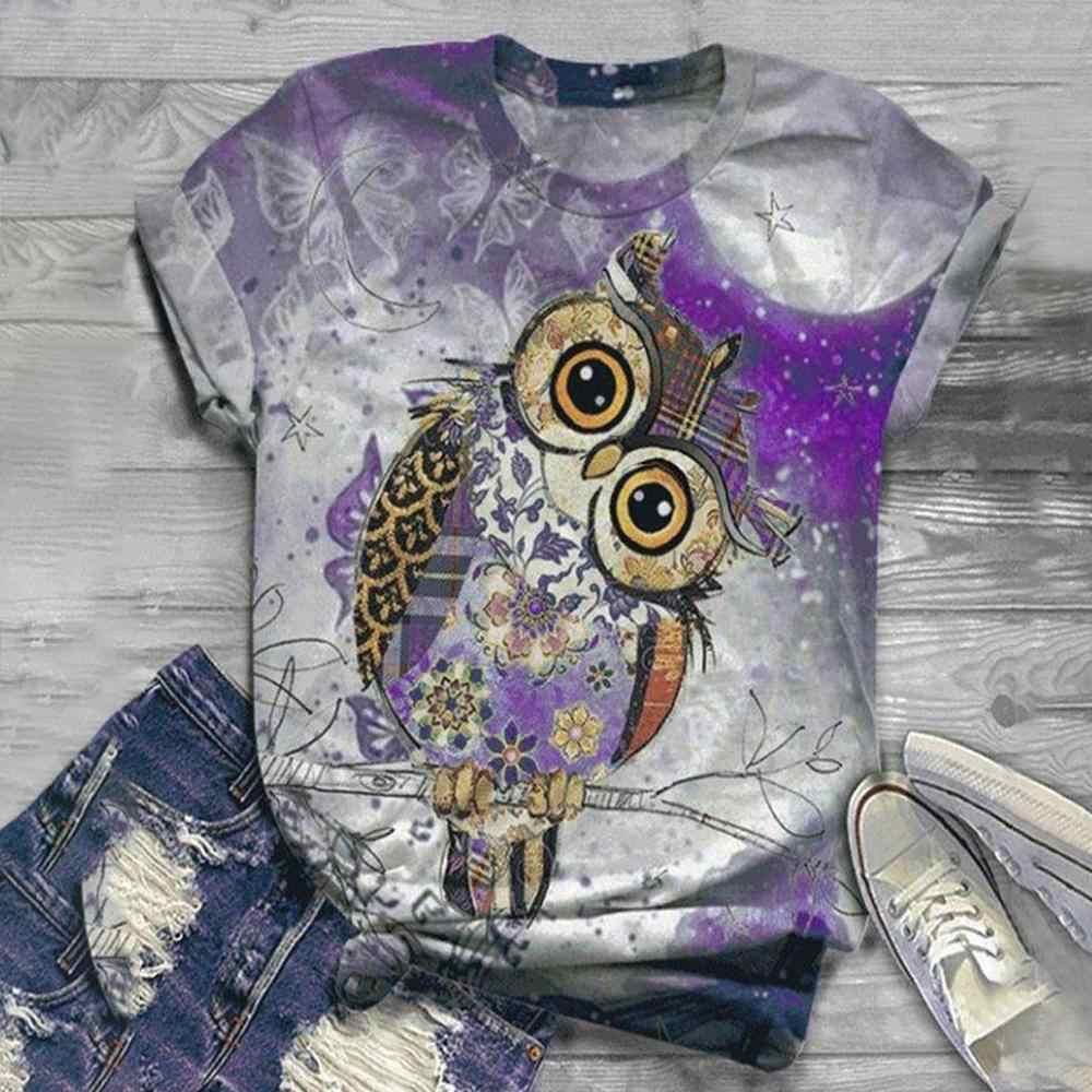 T delle donne della camicia harajuku parti superiori delle donne 2020 Donne Più di Formato Manica Corta 3D Animale Stampato O-Collo Top t-shirt camiseta mujer футболка