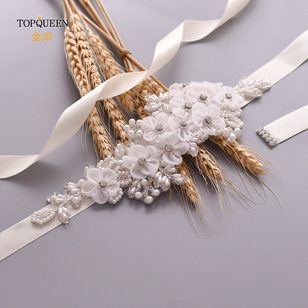 TOPQUEEN Bridal Flower Belts For Party Dresses Bridal Accessories Woman Wedding Belts Flowers With Pearls Beaded Rhinestone S355