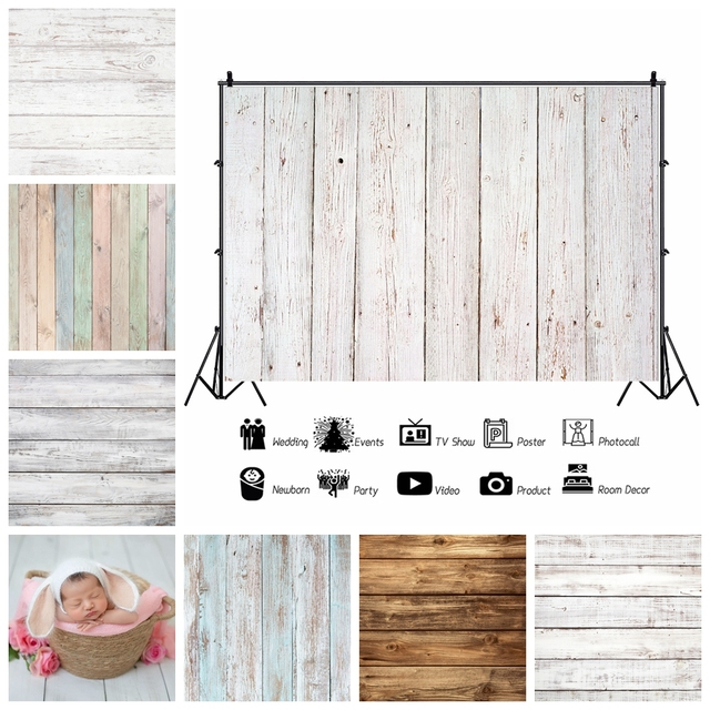 Laeacco White Wooden Board Texture Photography Backdrop Vinyl Photo Background Baby Shower Photocall For Photo Studio Photophone