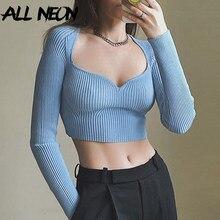 ALLNeon E-chica dulce otoño camiseta sólido Tops Vintage con cuello en V y manga larga ajustado de punto suéteres de hombre 90s Top Casual
