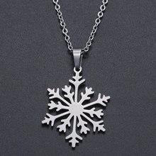 Collier breloque flocon de neige en acier inoxydable pour femmes, OEM, bijoux à la mode, accepté, vente en gros, livraison directe
