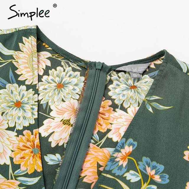 Elegant floral print satin women dress Wrap v neck high waist summer dresses