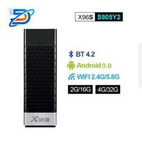 X96s android tv vara & android 9.0 display dongle quad core amlogic s905y2 wifi 4g ram 32 gb rom bluetooth caixa de tv inteligente