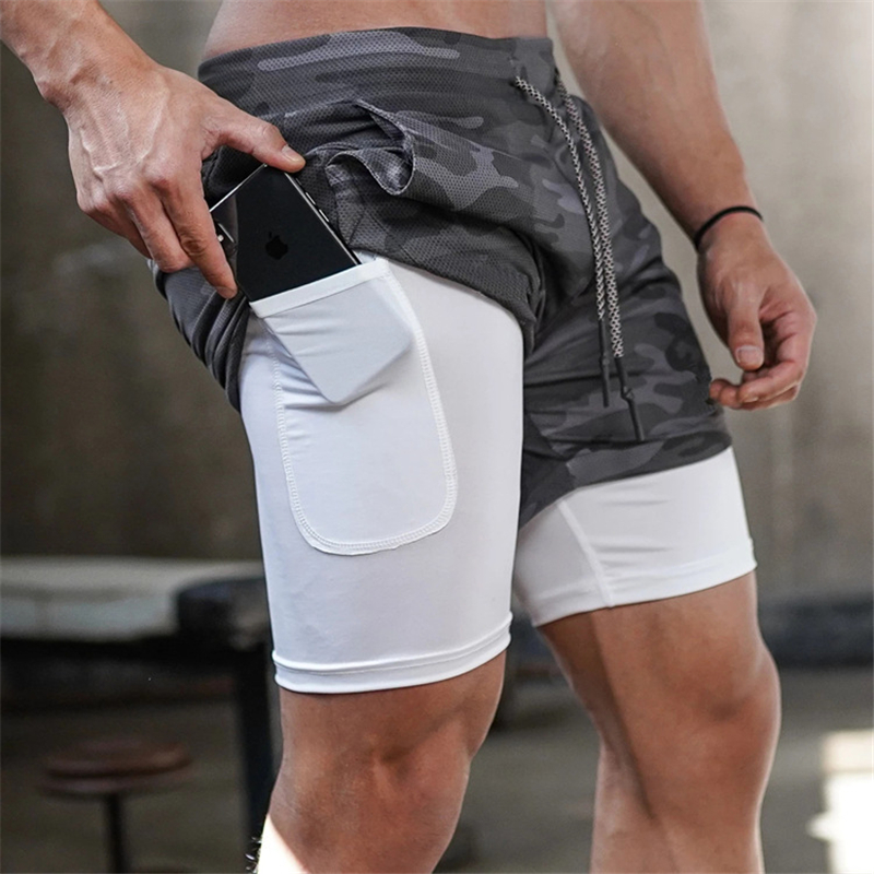 Mens 2 In 1 Camouflage Shorts Gyms Fitness Workout Quick-dry Short Pants Male Summer Crossfit Casual Zip Pocket Beach Shorts