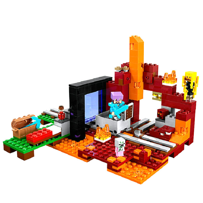 The Nether Portal Building Block With Action Figures Compatible My World <font><b>MinecraftINGlys</b></font> Sets Toys For Children Gifts <font><b>21143</b></font> image