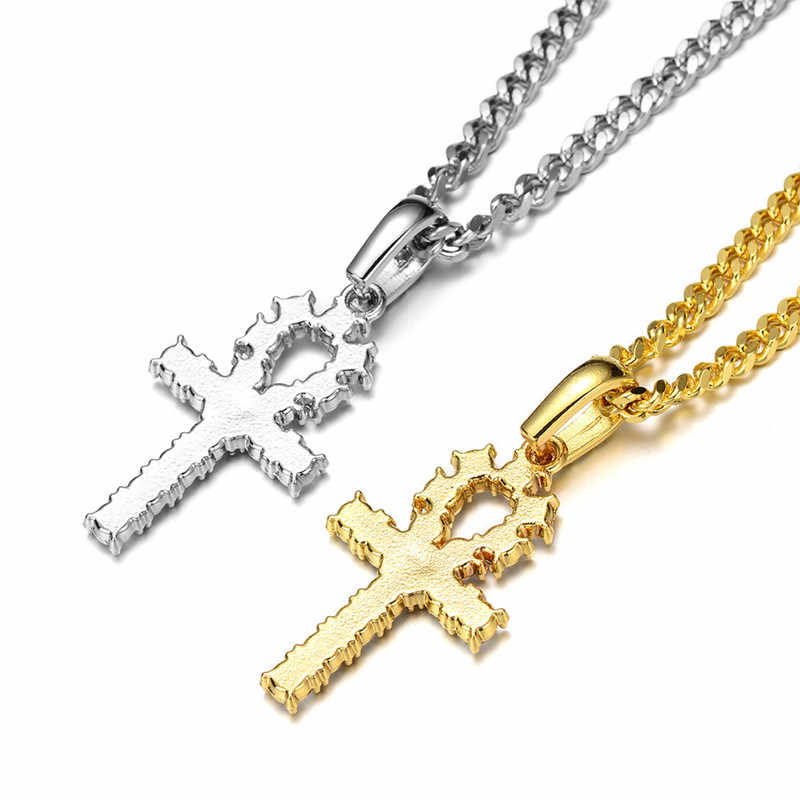 Iced cyrkon Ankh krzyż wisiorek złoty srebrny materiał miedziany CZ egipski klucz wisiorek drzewo życia naszyjnik mężczyźni kobiety biżuteria Hip Hop