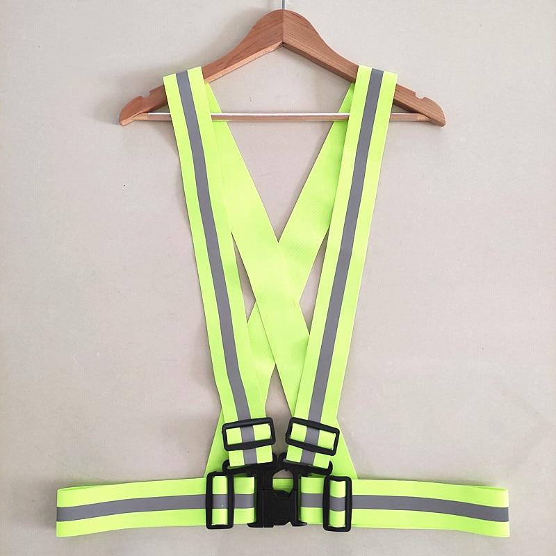 50 Pieces Reflective Fluorescent Running Harness Safety Vest Sport Outdoor Night Accessories Warning Vest Bike Lighting