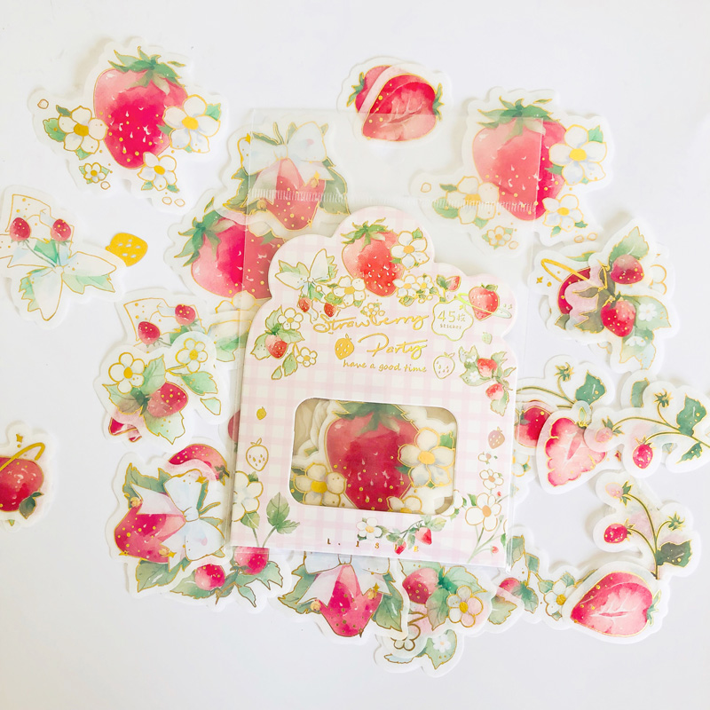 45PCS /Bag Summer Style Strawberry Fairy Paper Adhesive Label Stickers Hand Account Decoration Stickers