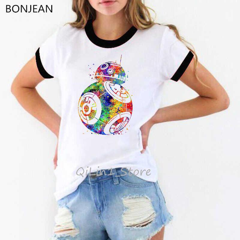 Gwiezdne wojny Cartoon tee shirt femme kawaii ubrania śliczne BB-8 księżniczka drukuj graficzne koszulki ringer tees walczyć jak dziewczyna tshirt