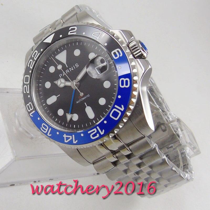 Marca de Luxo Data de Aço Relógio dos Homens Milímetros Parnis Black Dial Sapphire Vidro Jubileu Gmt Inoxidável Movimento Automático Top 40