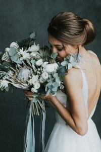 Image 3 - 2019 Boho חתונה קו הכלה שמלות לנשים ללא משענת אלגנטית Vestido דה Noiva לורי חתונה שמלות לנשים
