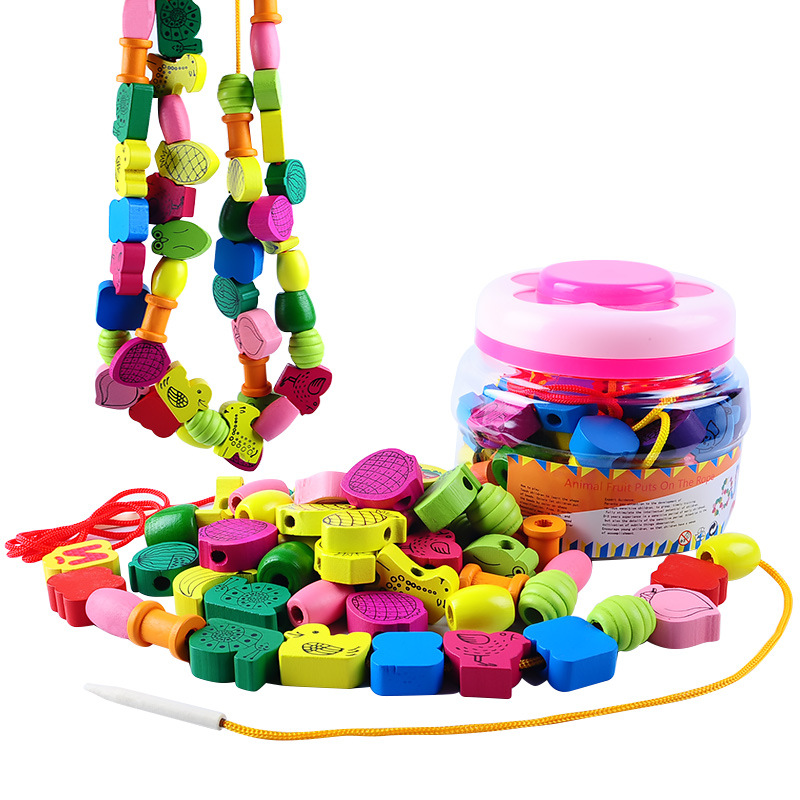 Wooden Large Size 60 Capsules Barrel Animal Fruit Beaded Bracelet Children Early Childhood Cognitive Educational Bead Toy Wholes