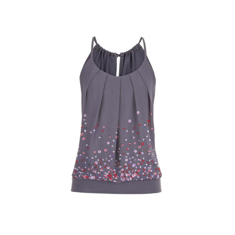 2020 European And American Women's Round Neck Pleated Sling Print Top    938