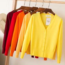 Casual damski sweter dziergany sweter 2020 jesienno-zimowy damski jednokolorowy dekolt w serek z długim rękawem Plus rozmiar szydełkowany sweter płaszcz tanie tanio NYLON COTTON CN (pochodzenie) Wiosna jesień 65 cotton 35 nylon Komputery dzianiny Stałe REGULAR V-neck Osób w wieku 18-35 lat