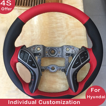 Customize Car Steering Wheel Cover Black Red Drilled Hole Leather for Hyundai Elantra Verna Mistra Tucson 2010 2011 2012-2019