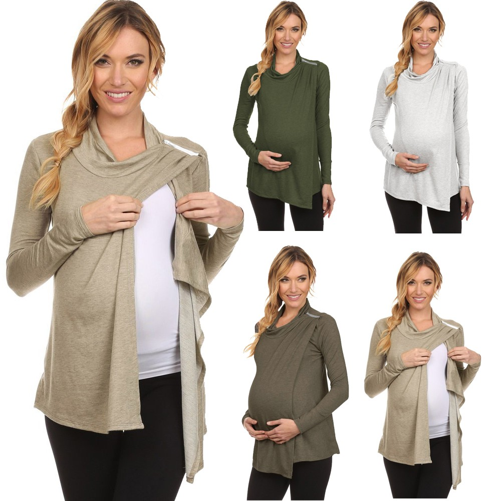 Maternity Dresses Pregnant Woman Clothes Women's  Long Sleeve Cowl Neck Side Open Nursing Tops T-shirts Breastfeeding 2019