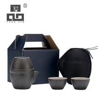 Tangpin cerâmica bules com 3 xícaras um chá conjuntos portátil viagem conjunto de chá drinkware|Jogos de chá| |  -