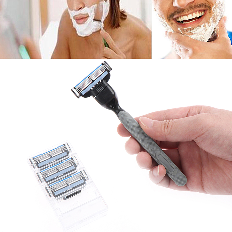 4pcs Razor Blade With 1 Razor Handle Cassette Shaving Blade For Men Face 4-Layer Blades Compatible For Mache 3 Machine 3