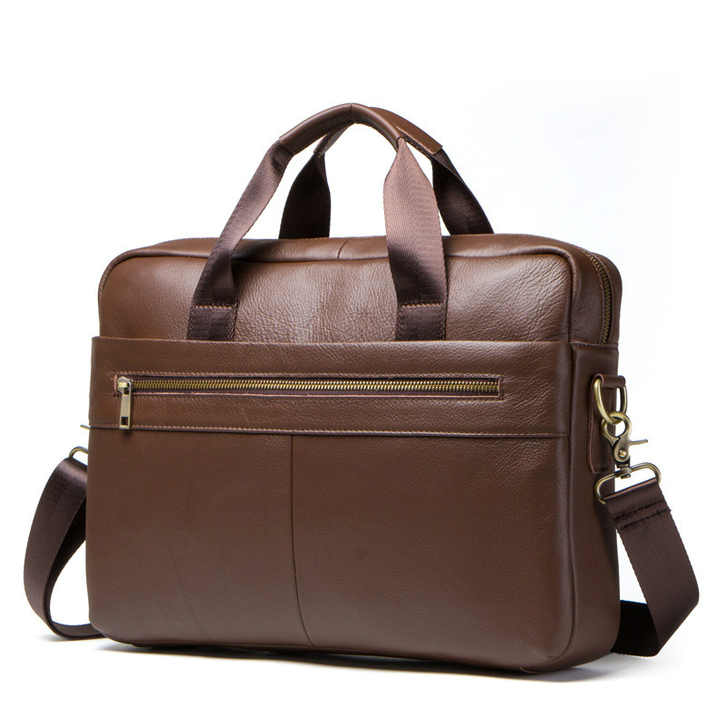 New Business Casual Men's Genuine Leather Laptop Bag Cow Leather Business Briefcase First Layer Leather Shoulder Crossbody Bag