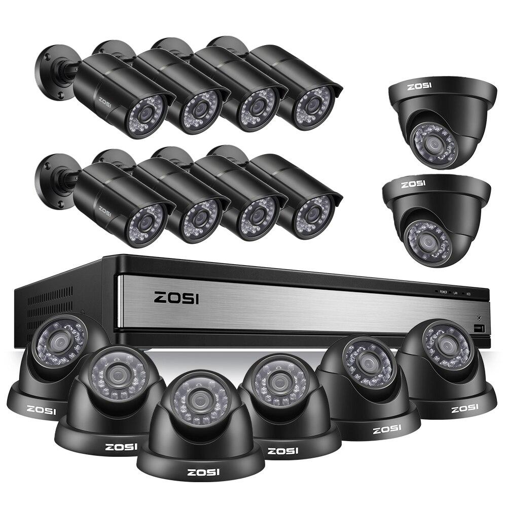 ZOSI 16 CH CCTV Sistema de Câmera De Segurança Full HD 1080P Outdoor/Indoor com 16 PCS Câmera de Vídeo kit DVR vigilância
