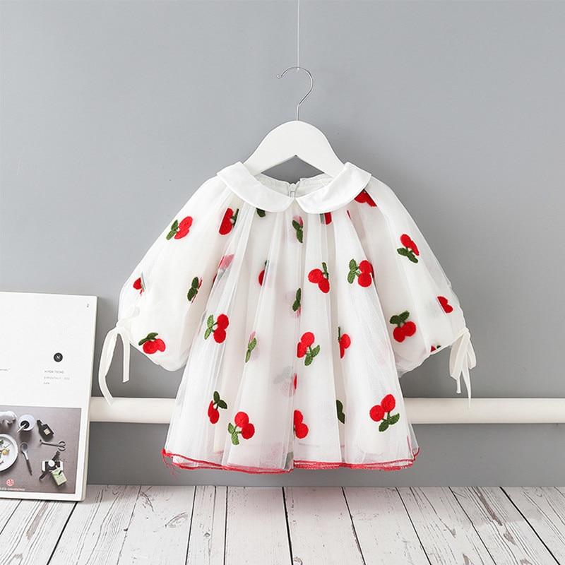 Baby Girls Dress Cherries Embroidery Kids Clothes Lantern Sleeve Peter Pan Baby Dress Girl Party Tutu Princess Children Clothing
