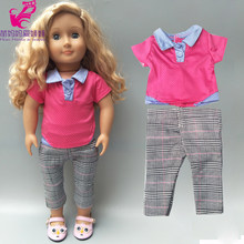 BB doll clothes rose red shirt plaid pants 18inch american doll clothes set dolls weat(China)